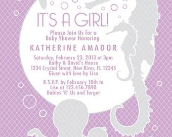Lavender & Gray Girl, Boy or Gender Reveal Sea Theme Baby Shower Invitation - Digital File - Custom  - Item 111B