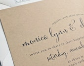 Monica Calligraphy Script Recycled Kraft Wedding Invitation Sample