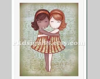 Sisters art for children decor / kids wall art / art for girl room decor / bridesmaid gift / African / red / My Lovely Best Friend 8 x 10