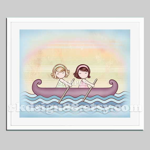 Girls room, sea nursery art, children decor, two sisters, best friends, row row your boat, Stronger, blonde brown 8x10