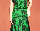 Custom Made Silk Atonement Keira Knightly green gown with train