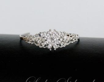 Crystal Cuff Wedding Bracelet  Silver Filigree Swarovski Rhinestone Bridal Bracelet Bridesmaid Cuff AVA