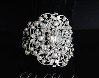 Bridal Cuff Bracelet Bridal Bracelet Wide Cuff Silver Crystal Cuff Wedding Jewelry Swarovski Crystal Bracelet Vintage Style Bracelet