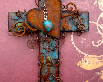 Rusty Heart Wall Cross - Turquoise Cross - Primitive Cross - Rustic Cross - Baptism Gift - Confirmation Gift - Wire Cross - Christian Cross