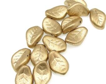 25 Flax Leaf Beads - 14mm x 9mm Czech MATTE METALLIC FLAX Glass Leaves - Beige Cream Leaves - Fall Beads Autumn Beads Golden Leaf Briolettes