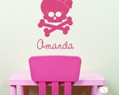 Girl Skull Wall Decal with Bow - Vinyl Sticker Art