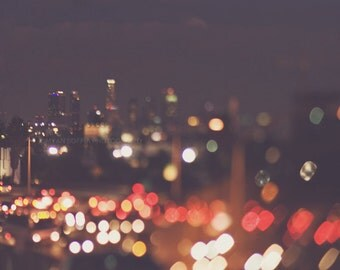 photography, Los Angeles at night photograph, bokeh, downtown cityscape abstract decor, LA skyline, plum, red, traffic, modern, gold sparkle