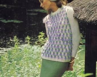 Vintage Knit Pattern - PDF DOWNLOAD Vintage Knit Sweater with Thistles Pattern, 1960s Knitting Pattern, Style No. 6501 - see desciption