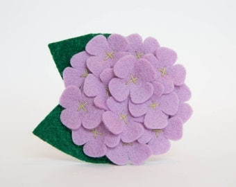 Felt Flower for Dog Collar - Lavender Hydrangea