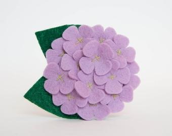 Felt Flower for Dog Collar - Lavender Hydrangea