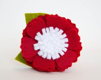 Felt Flower for Dog Collar - Red Blossom
