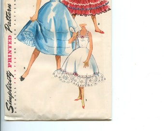 1950s Petticoat & Slip Simplicity Pattern 4947 Vintage Sewing Pattern Can Can Rockabilly Style with Flared Skirt and Ruffles UNCUT B32