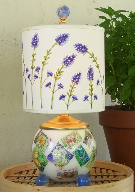 Reserved for Susan Lovely Lavender Ensemble  Lampshade on Reverse Decoupage Lamp Makes Perfect Accent Piece