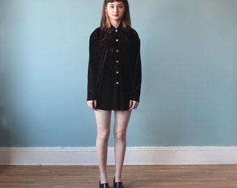 velvet button up top / oversize brown velvet blouse / 1990s / xs - small