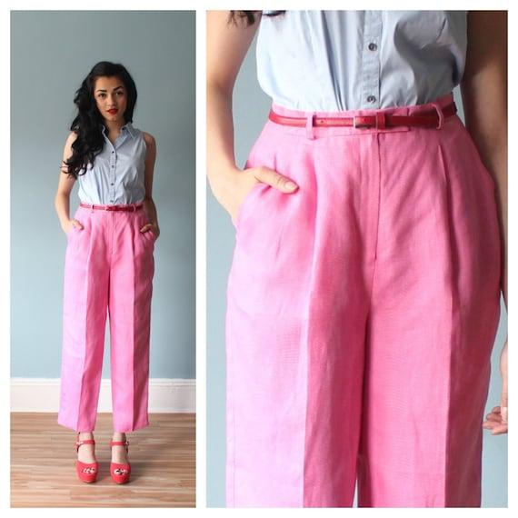 pink linen trousers / high waist pants / linen trousers /