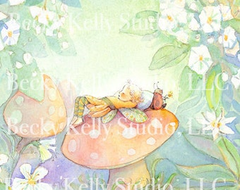 Fairy Resting on a Mushroom, illustration, print, art 8 X 10,  Giclee of a watercolor painting by artist Becky Kelly