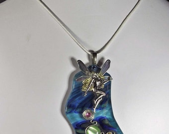 Fairy faerie pendant blue slumped art glass necklace one of a kind artist made in michigan