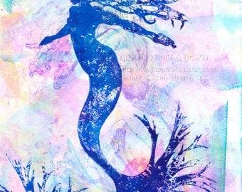 Mermaid Wall Art, Whimsical Mermaid OOAK One of A Kind, Original Art Mermaid Decor, Monoprint Nursery Art Girls Wall Decor, Wall Art for Her