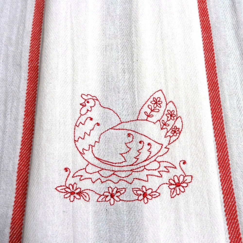 Chicken Cotton Flour Sack Hand Towel Embroidered Towel