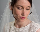 Rhinestone and Pearl Juliet Cap Veil, 1920s Inspired Bridal Veil, Wedding Cap Veil - Viola