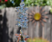 "8"" Long Swarovski Crystal Starfish Suncatcher, Crystal AB Sparkle Rainbow Sun Catcher, Window Hanging Crystals, Car Charm Sea Life Ornament"