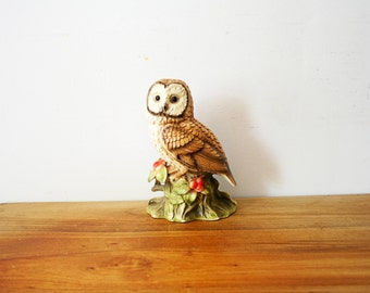 vintage 70s Large Sweet Barn Owl on Berry Branch Shelf Sitter Figurine Home Decor