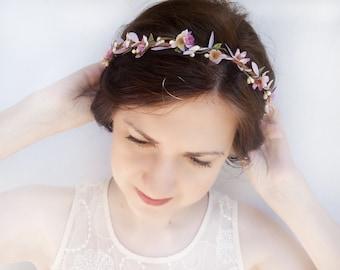 lavender flower crown, purple hair flower, purple headband, bridesmaid headband, lilac wedding, floral headpiece, flower hair vine