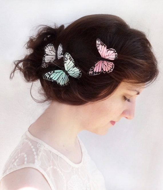 Monarch Butterfly Hair Pins Bridal Hair By Thehoneycomb On