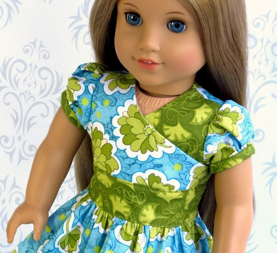 "18"" American Girl Doll Clothes Easter Dress, Green Blue Wrap Dress"