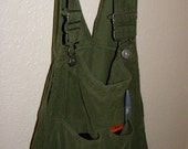 Upcycled Green Cordorouy Bib Overall Purse