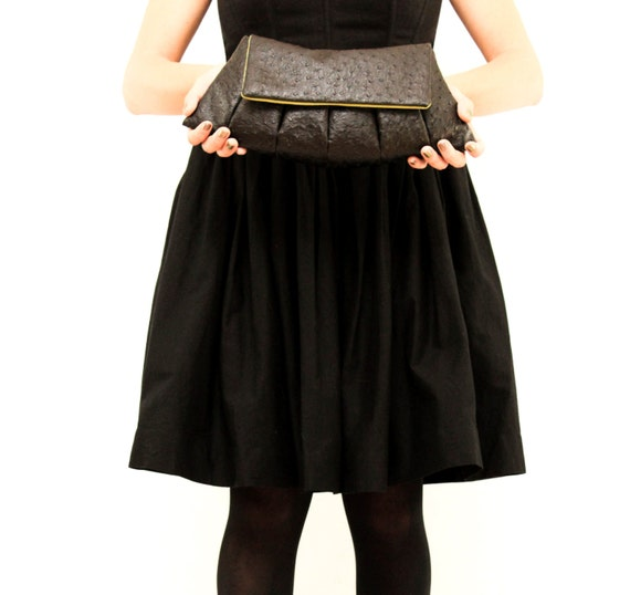Midnight Sortie- Black Faux Ostrich Clutch Bag