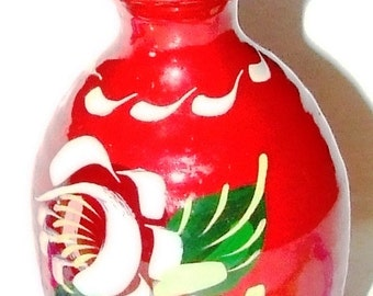 Red Canelware Bargeware Bud Vase Hand-painted By Ann Playle from Keith Scotland