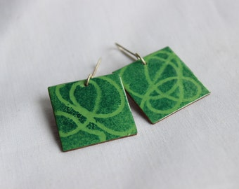 Enameled Stencil earrings, Green enamels, Squared, Sterling silver and copper