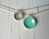 sea foam and smoke double dot necklace
