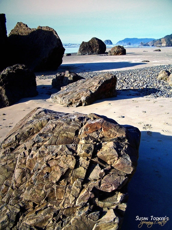 Huge Boulders Coastline Epic Landscape Fine Art Photography Ocean Arcadia Beach Oregon Coast Greeting Card THE STONE GODS by Spinning Castle