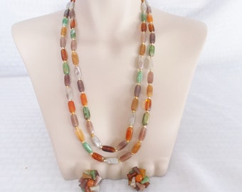 50's 60's Vintage Polished Stone Look Cluster Long Necklace and Earring Set Hong Kong