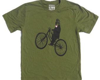 Monkey on Bicycle Men's T Shirt, in Green