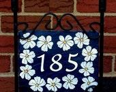 Daisy Border  Hand Painted Decorative Address Slate -