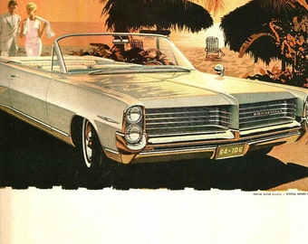 Vintage Magazine Car Ad - Auto Print - 1964 Pontiac Bonneville - Magazine Illustration - Vintage Advertisement Art - 1964
