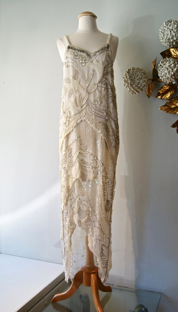 Reserved 20s Style Beaded Flapper Wedding Dress
