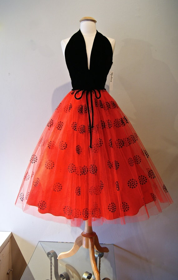 50s Dress // Vintage 1950s Halter Dress Red and by xtabayvintage