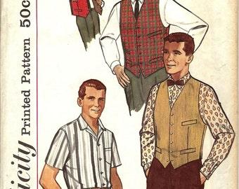 Vintage 1960s Simplicity Pattern 4160 Men's Shirt, Vest & Reversible Vest - Size 34