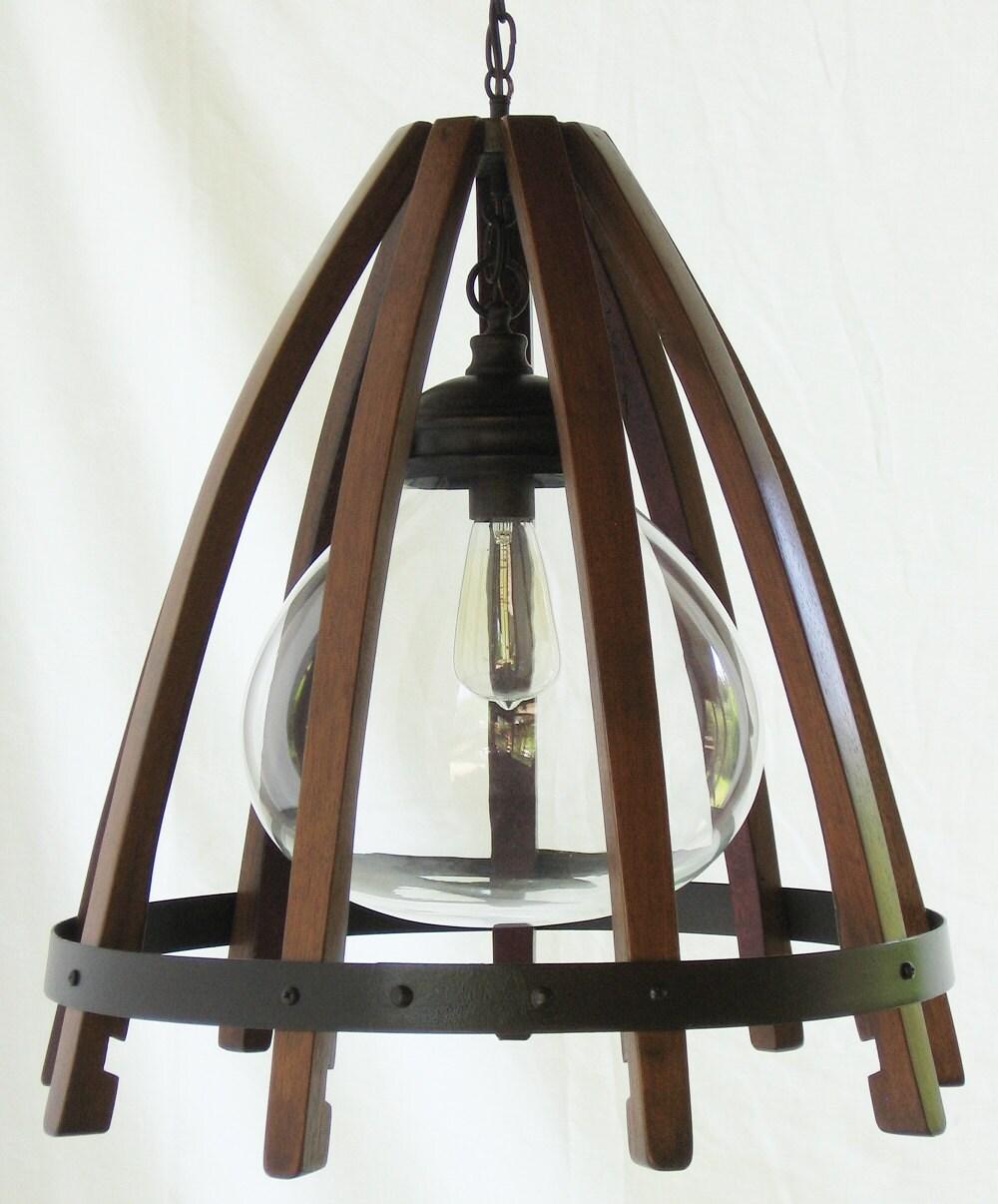 Medusa recycled oak wine barrel staves hoop hanging pendant for Medusa light fixture