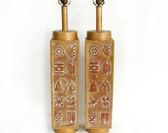 Ackerman Style Pair of Large Carved Wood Table Lamps