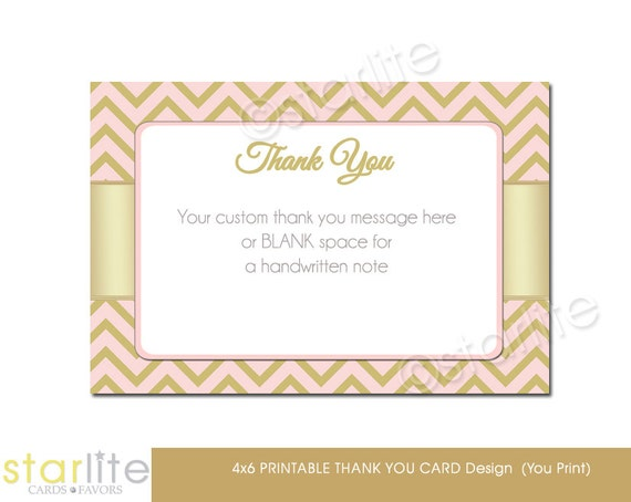 Wedding Gift Check Both Names : Bridal Shower Thank You Card Pink Gold Chevron Personalized Printable ...