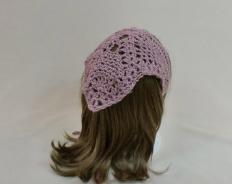 Crochet Hair Kerchief, Pink Bandana Hair Scarf,  Rockabilly Hair Tie,  Lace Triangle Headband, Rose Hair Wrap