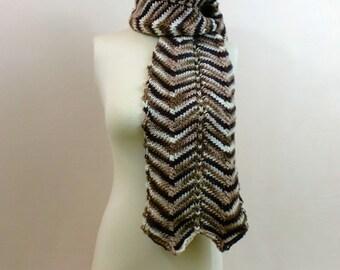 Striped Scarf, Chevron Brown Stripes, Zig Zag Shawl Neck Wrap, Stripe Stole Fashion Knitted Wrap, Neck Warmer with Stripes
