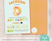 art party invitation and party collection. boy birthday invitation. printed.