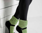 Knit Slipper Sock Adult Mary Jane Slippers Sox Green House Slippers Womens Slippers Home Slippers Black House Shoes Home Shoes