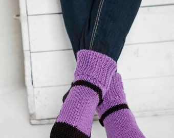 Knit Slipper Sock Adult Mary Jane Slippers Sox Purple Lavender House Slippers Womens Slippers Home Slippers Black House Shoes Home Shoes